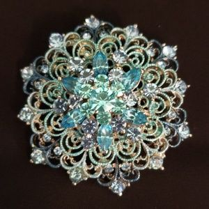 Jewelry - Turquoise and Light Blue Rhinestone Brooch